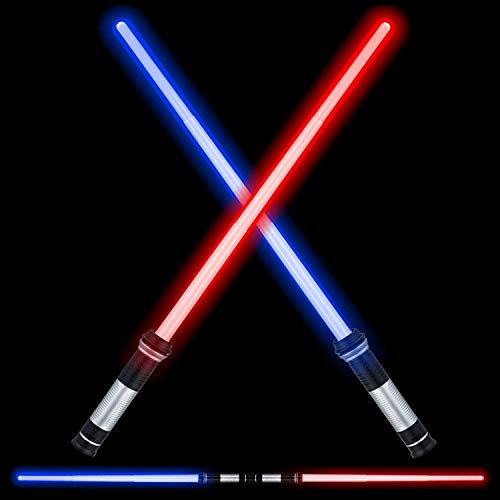LED Light Saber Glow Sword - 2-in-1 FX Double Bladed Dual Sabers Light Sword with Sound and 4 Colors for Kids