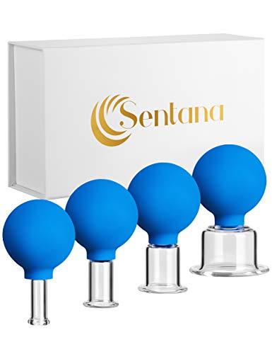 Sentana® Schröpfglas Set [4 Stück] - Hochwertiges Schröpfset passend für jede Körperstelle - Mit leistungsstarkem Saugball für müheloses Schröpfen