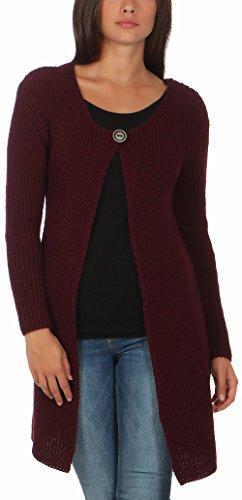 Malito Damen Lange Strickjacke | Cardigan im Grobstrick Look | Weste mit Wolle | Mohair - Jacke - Mantel 7020 (Bordeaux)