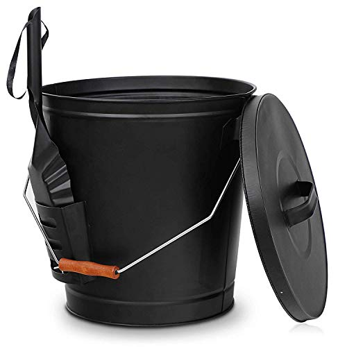 Nouva Galvanized Ash Bucket with Lid and Shovel, 5.15 Gallon Large Metal Hot Wood Ash Carrier Pail Fireplace Tools,Fire Pit,Wood Burning Stove Black