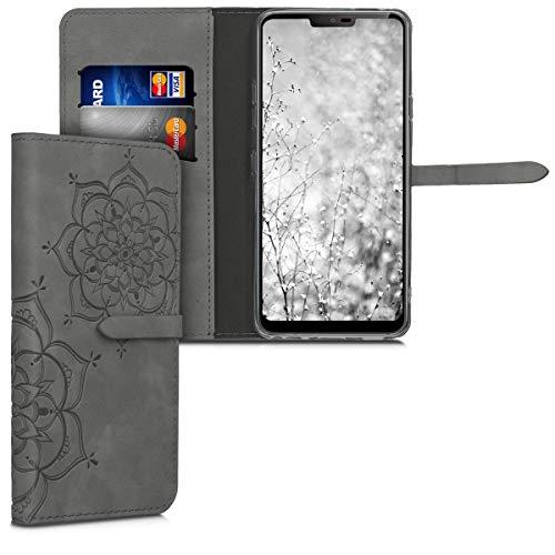kwmobile Hülle kompatibel mit LG G7 ThinQ/Fit/One - Kunstleder Wallet Hülle mit Kartenfächern Stand Blumen Zwillinge Grau