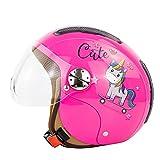 Jet and Demi-Jet - Casco de moto para niños, cuatro estaciones con visera de helicóptero extraíble, para niños de 4 a 12 años (A, 48 a 54 cm)