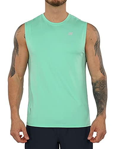 ODODOS Men's Quick Dry Fitted Athletic Tank UPF 50+ Sun Protection SPF Tops Running Sports Fitness Training Workout Sleeveless Shirts, Mint Green, XX-Large