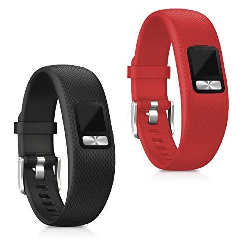 kwmobile Pulsera Compatible con Garmin Vivofit 4-2X Correa de TPU para Reloj Inteligente - Rojo/Negro