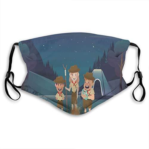 Gezichtskap met drie snoepjes in de vorm van een nachtmoon en een sky voor outdooractiviteiten, verstelbare afdekking voor kinderen, maat S
