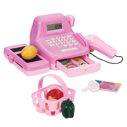 Play Circle by Battat – Pink Cha-Ching Cash Register Set with Sounds – Calculator, Scanner, Play Money, and Plastic Coins – Learn & Play Shopping Toys for Kids Ages 3 and Up (26 Pieces), Multicolor