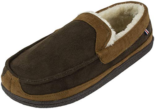 IZOD Men's Memory Foam Slipper, Classic Two-Tone Moccasin, (Large / 9.5-10.5, Dark Brown)
