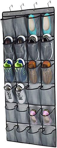 Rack de almacenamiento de zapatos multifuncional 24 bolsillos de malla extra grandes, colgando zapatos para colgar, organizador, percha, colgador de puerta con 4 ganchos de metal robusta