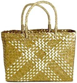 Handwoven Beige White Straw Wicker Large Basket Handbag - Shopping Beach Summer Basket Women Top Handle Bag - Boho Eco Cottagecore Purse Picnic