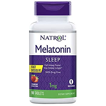 Natrol Melatonin Fast Dissolve Tablets Helps You Fall Asleep Faster Stay Asleep Longer Easy to Take Dissolves in Mouth Strengthen Immune System Maximum Strength Strawberry Flavor 1mg 90 Count