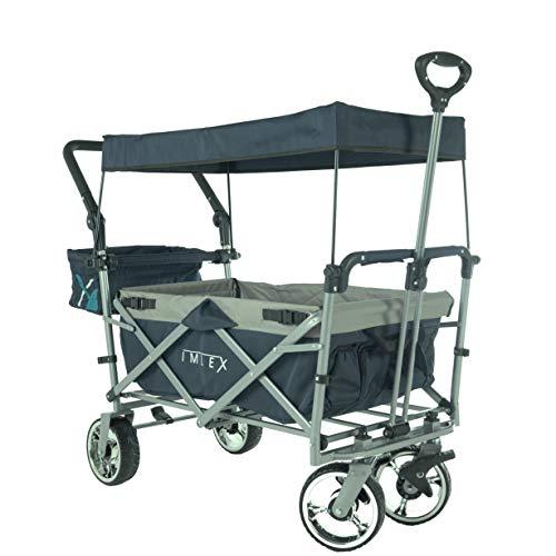 IMLEX IM-4268 Faltbarer Bollerwagen mit Schiebe und Zieh Funktion, Vorder- und Hinterrad-Bremse, in Anthrazit/Grau
