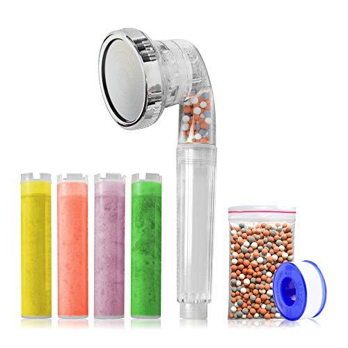 ZStar Universal-Duschkopf, Hochdruck und Filter mit Vitamin C Aroma – reinigt das Wasser – Bad-Zubehör – Duschkopf mit Mineralkugeln – Regenmodus, Massage, Jet