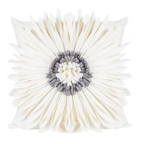 Caso Dell'ammortizzatore Del Cuscino Del Tiro Copertura 3d Girasole Decorativo Con Disegno Del Petalo Per Divano Bianco
