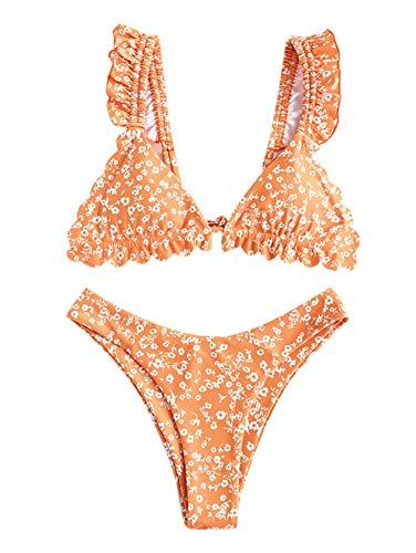 ZAFUL Damen Flower Ruffle High Cut Bikini Set Badeanzug Orange M