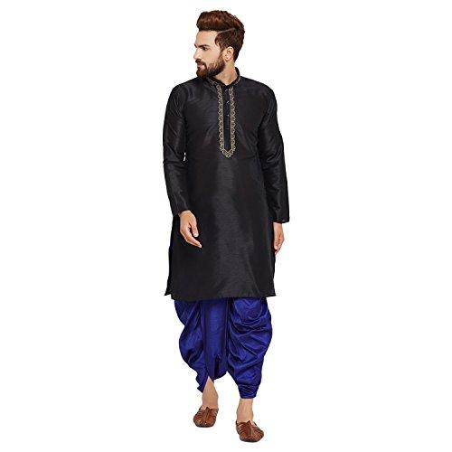 Sojanya Men's Dupion Silk Kurta Dupion Silk Dhoti Set Medium Black And Royal Blue