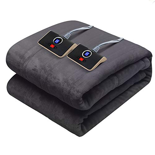 """Westinghouse Electric Blanket Queen Size 84""""x90"""" Heated Throw Soft Silky Plush Flannel Heating Blanket, 10 Heat Settings & 12 Hours Auto Off, Machine Washable, Charcoal Grey"""