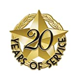 Crown Awards 1' x1' 20 of Service Recognition Lapel Pins, Star-Shaped 20 Year of Service Gold Lapel Pins 5 Pack Prime