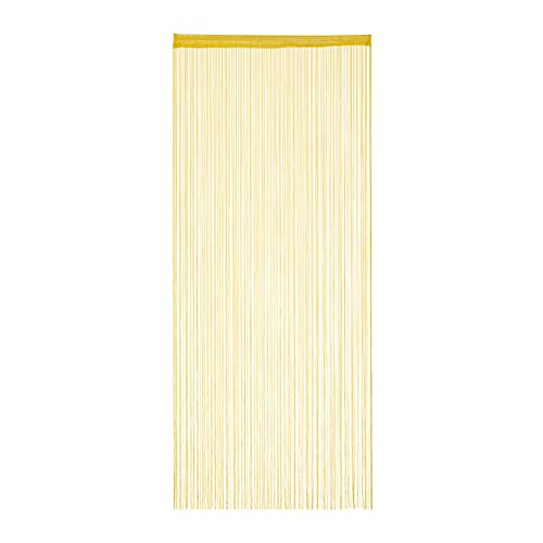Relaxdays Fadenvorhang, 90x245 cm, Tunneldurchzug, kürzbar, Fadenstore für Türen & Fenster, Fadengardine, waschbar, Gold