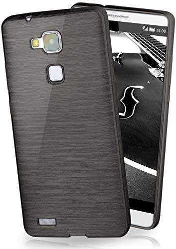 MoEx® Stylische Brushed Aluminium-Optik & starker Grip | Ultra dünne Silikonhülle passend für Huawei Mate 7 in Schwarz