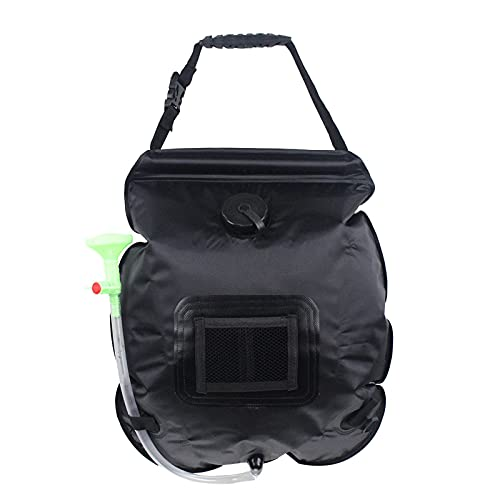 Bolsa de Ducha Solar Exterior Camping Solar Shower Bag Portatil 20L con Manguera y Ducha PVC Ajustable Plegable,Black