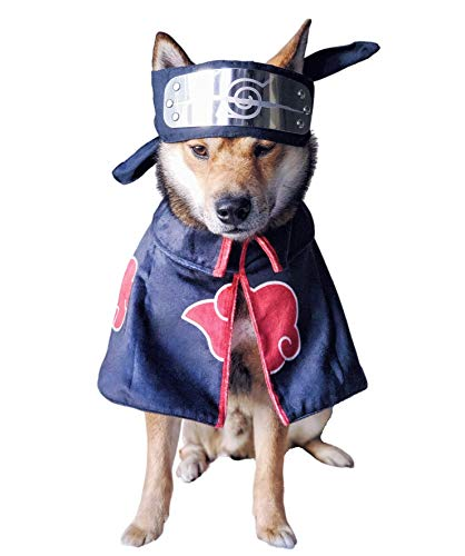 ChoChoCho Anime Cosplay Akatsuki Cloak for Dogs and Cats, Anime Plush Naruto Robe for Pets, Ninja...