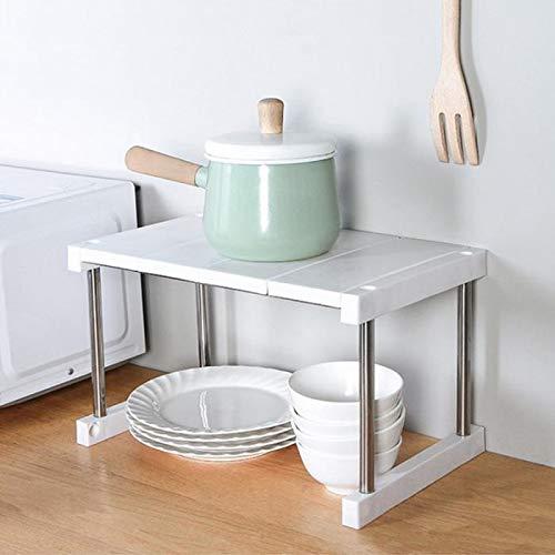 anruo Keukenkast teller plank organisator uitbreidbaar stapelbaar kruidenrek