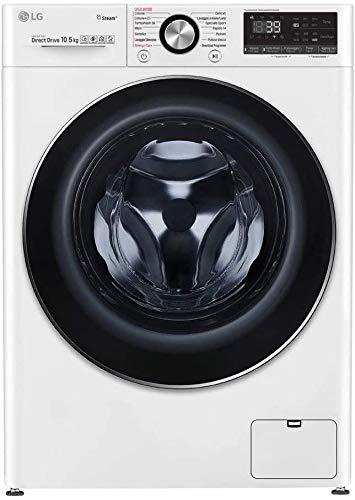 LG F4WV910P2 Lavadora de carga frontal 10,5 Kg Instalación gratuita, 1400 rpm, Clase A+++ -50%, Inteligencia Artificial, Función de Vapor, Ojo de Buey de Vidrio Templado, 60 x 56 x 85 cm - Blanco