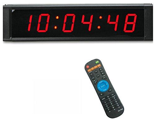 ganxin programmierbar 1rot Farbe 6Ziffern LED Timer mit Countdown und Zählen bis Wanduhr, 12/24Stunden Real Time Clock, Stoppuhr von Fernbedienung