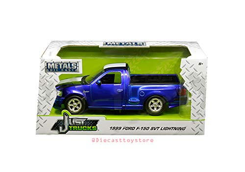 New DIECAST Toys CAR JADA 1:24 W/B - Metals - JUST Trucks - 1999 Ford F-150 SVT Lightning (Candy Blue) 30358-MJ