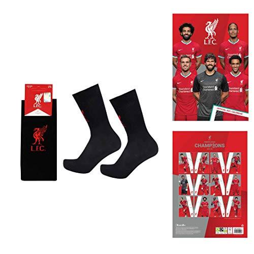 L.F.C. Offizielles Liverpool Player 2021 Fußball Kalender & Socken Geschenk-Set