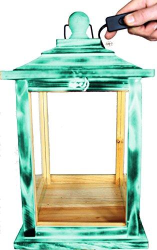 Schöne Große KLG-OFOS-TÜRKIS Holzlaterne, mit Beleuchtung 220V, Laterne aus Holz mit Holz - Deko in türkis Antik Look blaugrau für Holzhaus, Setzkasten Antik - Look