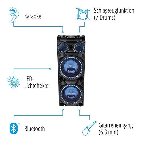 MEDION X64050 Party-Soundsystem mit Mikrofon (Partylautsprecher Karaoke, Bluetooth 2.1, Kompaktanlage, Farbige LED, USB, AUX, SD-Kartenleser, Mikrofonanschluss, Gitarrenanschluss, 2 x 100 W RMS)