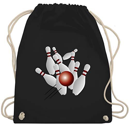 Shirtracer Bowling & Kegeln - Kegeln alle 9 Kegeln Kugel - Unisize - Schwarz - turnbeutel kegeln - WM110 - Turnbeutel und Stoffbeutel aus Baumwolle