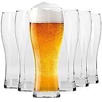 krosno alti bicchieri birra weizen vetro 0,5 litri | set di 6 | 500 ml | collezione chill | perfetto per casa e feste | adatto alla lavastoviglie e al forno a microonde
