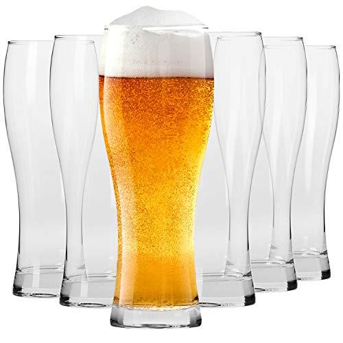 Krosno Alti Bicchieri Birra Weizen Vetro 0,5 Litri | Set di 6 | 500 ML | Collezione Chill | Perfetto per casa, ristoranti e Feste | Adatto alla Lavastoviglie e al Forno a Microonde