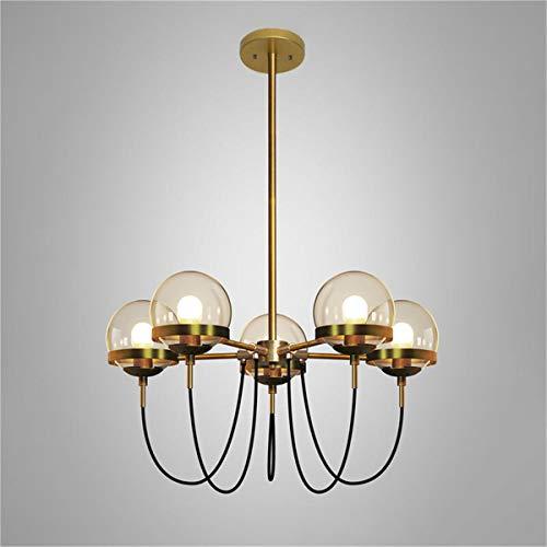 Not a brand Lámpara de Techo de luz Globo de Cristal de la lámpara Colgante Accesorio de la lámpara de Techo Moderna nórdica de 5 Cabezas (Color : Gold)