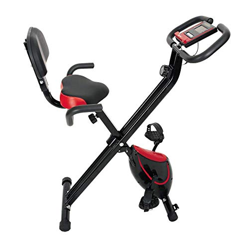 Sale!! Indoor Exercise Bike, Fitness Bike Home Trainer with Digital Monitor Folding Magnetic with Ba...