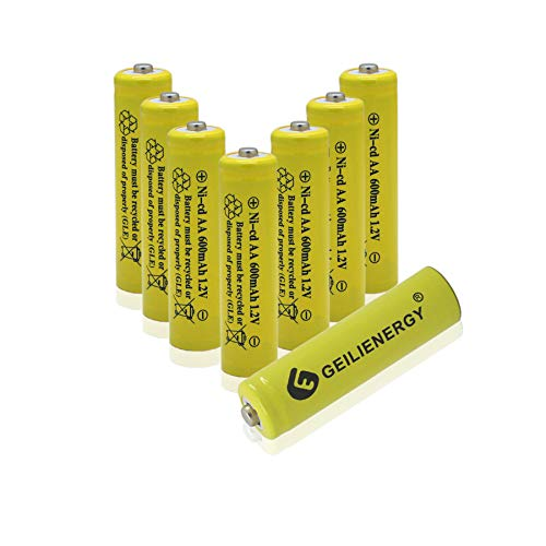 GEILIENERGY Solar Light AA Ni-CD 600mAh Rechargable Batteries,AA Rechargeable Batteries for Solar Lights Solar Lamp(8 PCS)