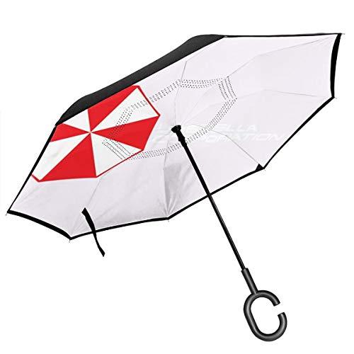 Resident Evil Umbrella Corporation Logo, Trucker Cap Weiß/Schwarz, doppelschichtig, umgekehrter Regenschirm für Auto, umgekehrt, zusammenklappbar, C-förmige Hände, leicht und Winddicht