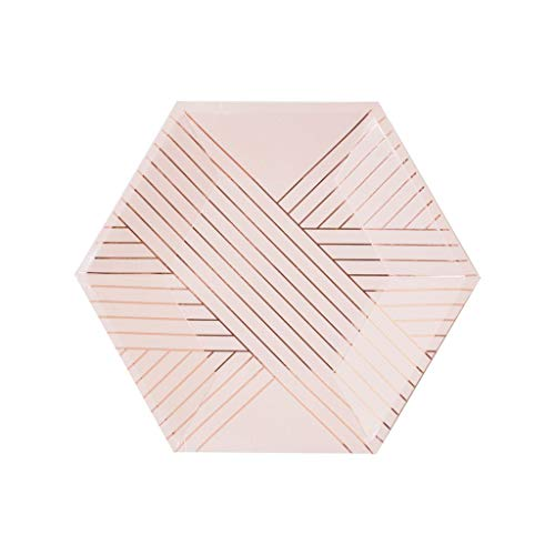 Harlow & Grey Amethyst Pale Pink Rose Gold Striped Small Paper Plates, Pack of 24 - Birthday, Wedding, Showers Disposable Party Plates
