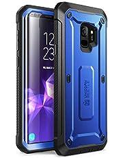SUPCASE Hoesje Samsung S9 Case met Screenprotector [Unicorn Beetle Pro] Riemclip Beschermhoes voor Samsung Galaxy S9 (Donker Blauw)