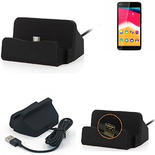 K-S-Trade Dockingstation Kompatibel Mit Wiko Rainbow Jam Docking Station Micro USB Tisch Lade Dock Ladegerät Charger Inkl. Kabel Zum Laden Und Synchronisieren, Schwarz