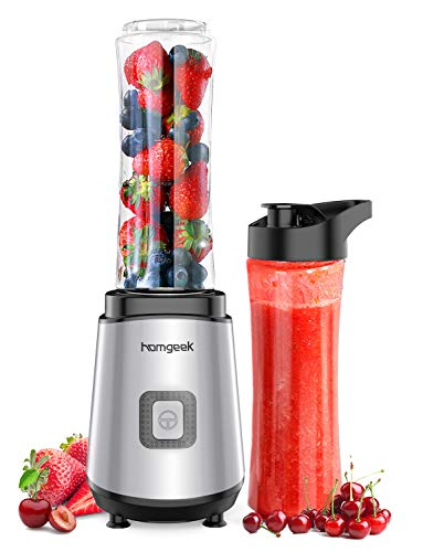 homgeek Personal Mini Blender Smoothie Maker, Portable Juicer Cup, Electric Power Mixer for Fruit and Vegetable,with Travel Lid and 2 Tritan Travel Sport Bottle 600ml/20oz