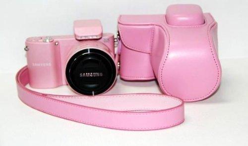 Color rosa piel sintética bolsa de funda para cámara funda para ...