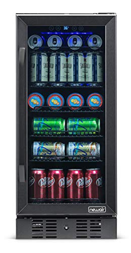 NewAir Beverage Refrigerator Built In Cooler with 96 Can Capacity Soda Beer Fridge, NBC096BS00, Black Stainless Steel
