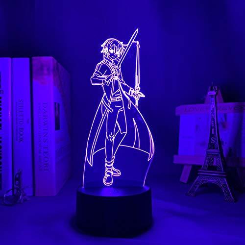 Anime Lámpara 3D Ilusión Led Noche Luz Espada Arte En Línea Kirito Para Dormitorio Decoración Regalo Colorido Nightlight Manga Kazuto Kirigaya-Control Remoto