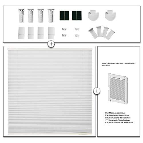 OUBO Plissee Klemmfix Faltrollo ohne Bohren Jalousie mit Klemmträger (Weiß, B40cm x H120cm) Blickdicht Sonnenschutz und Sichtschutz Rollo für Fenster & Tür - 6