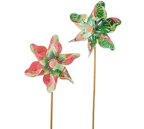 matches21 Windräder Windmühlen Kunststoff Dekostecker Tropic Flamingo & Urwald grün rosa Holzstab 2er Set sort Ø 9x23 cm