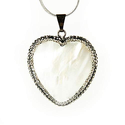 TUDUDU 1 Pieza de Moda Colgante de corazón de Concha Natural Piedra de Cristal decoración de Piedras Preciosas Tendencia de meditación Colgante de joyería Regalo