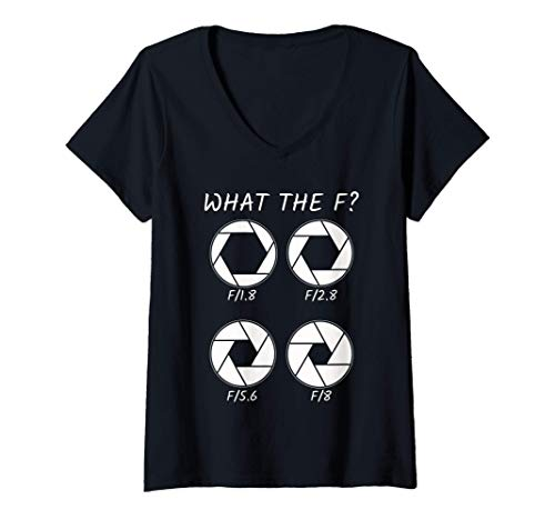 Donna Design Aperture e F-Stop Divertente regalo per un fotografo Maglietta con Collo a V